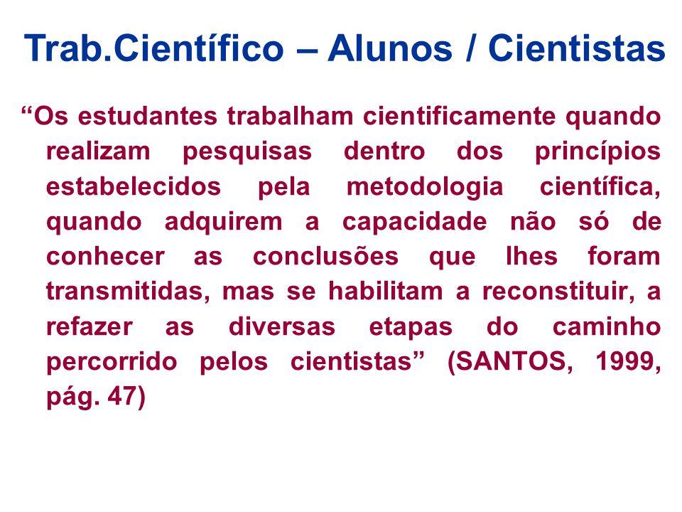 Os estudantes trabalham cientificamente quando realizam pesquisas dentro dos princípios estabelecidos pela metodologia científica, quando adquirem a c
