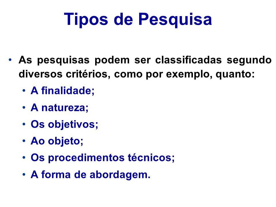 Tipos de Pesquisa As pesquisas podem ser classificadas segundo diversos critérios, como por exemplo, quanto: A finalidade; A natureza; Os objetivos; A