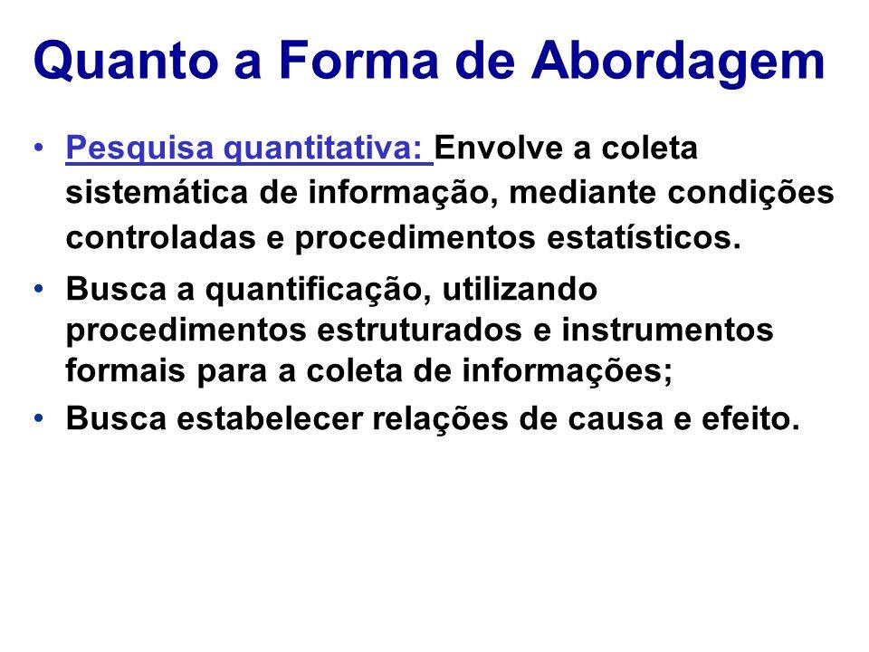 Quanto a Forma de Abordagem Pesquisa quantitativa: Envolve a coleta sistemática de informação, mediante condições controladas e procedimentos estatíst