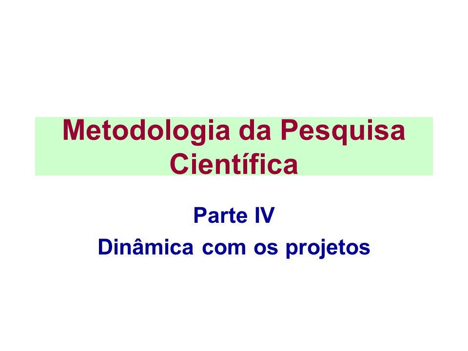 Metodologia da Pesquisa Científica Parte IV Dinâmica com os projetos