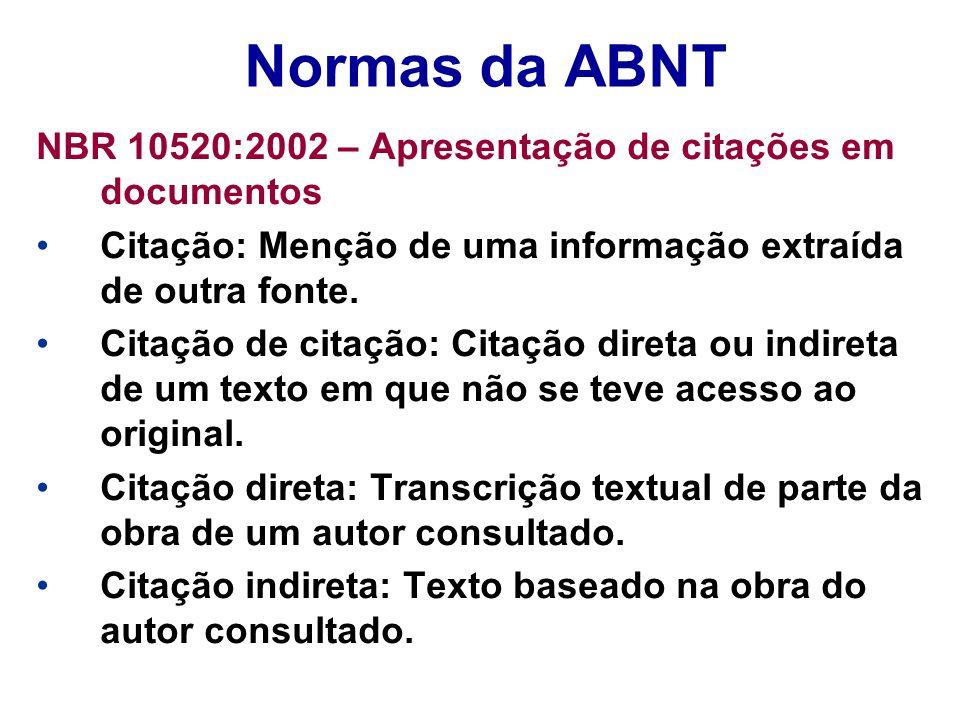 Normas da ABNT NBR 10520:2002 – Apresentação de citações em documentos Citação: Menção de uma informação extraída de outra fonte. Citação de citação: