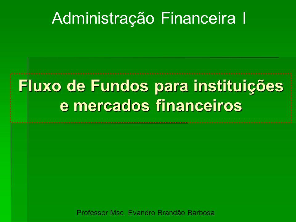 Fluxo de Fundos para instituições e mercados financeiros Administração Financeira I Professor Msc. Evandro Brandão Barbosa