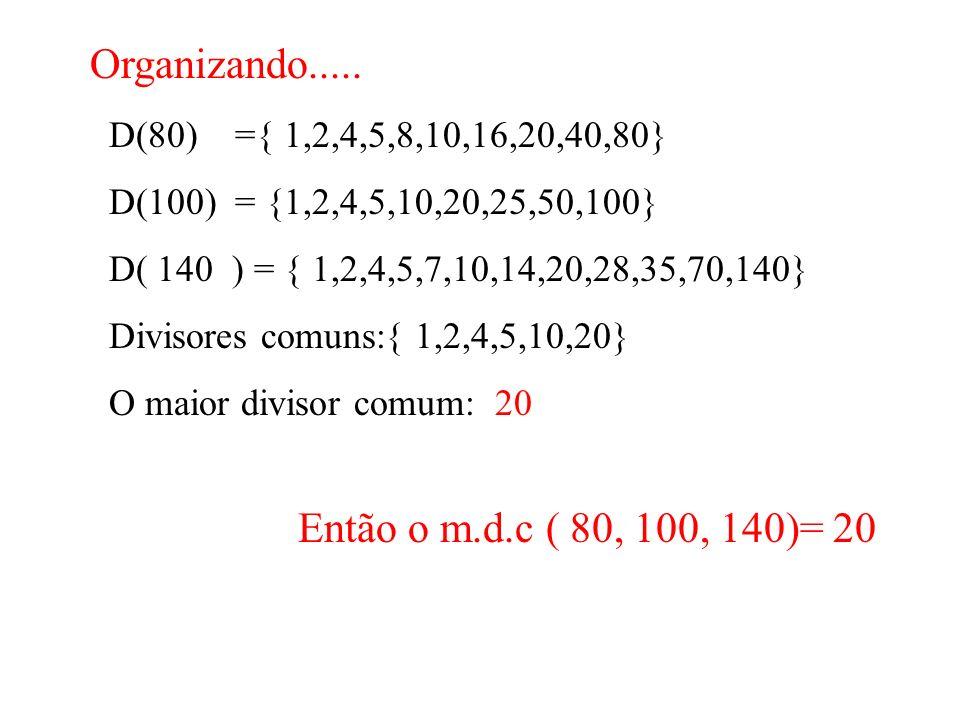 Pela Fatoração… 80 2 100 2 140 2 40 2 50 2 70 2 20 2 25 5 35 5 10 2 5 5 7 7 5 5 1 1 1 80 = 2 4.