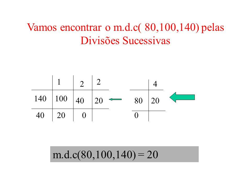 m.d.c(80,100,140) = 20 140100 4020 1 40 2 20 2 0 8020 4 0 Vamos encontrar o m.d.c( 80,100,140) pelas Divisões Sucessivas