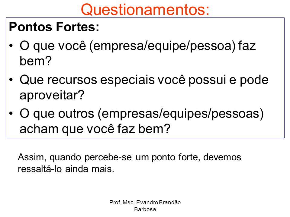 Prof. Msc. Evandro Brandão Barbosa Questionamentos: Pontos Fortes: O que você (empresa/equipe/pessoa) faz bem? Que recursos especiais você possui e po