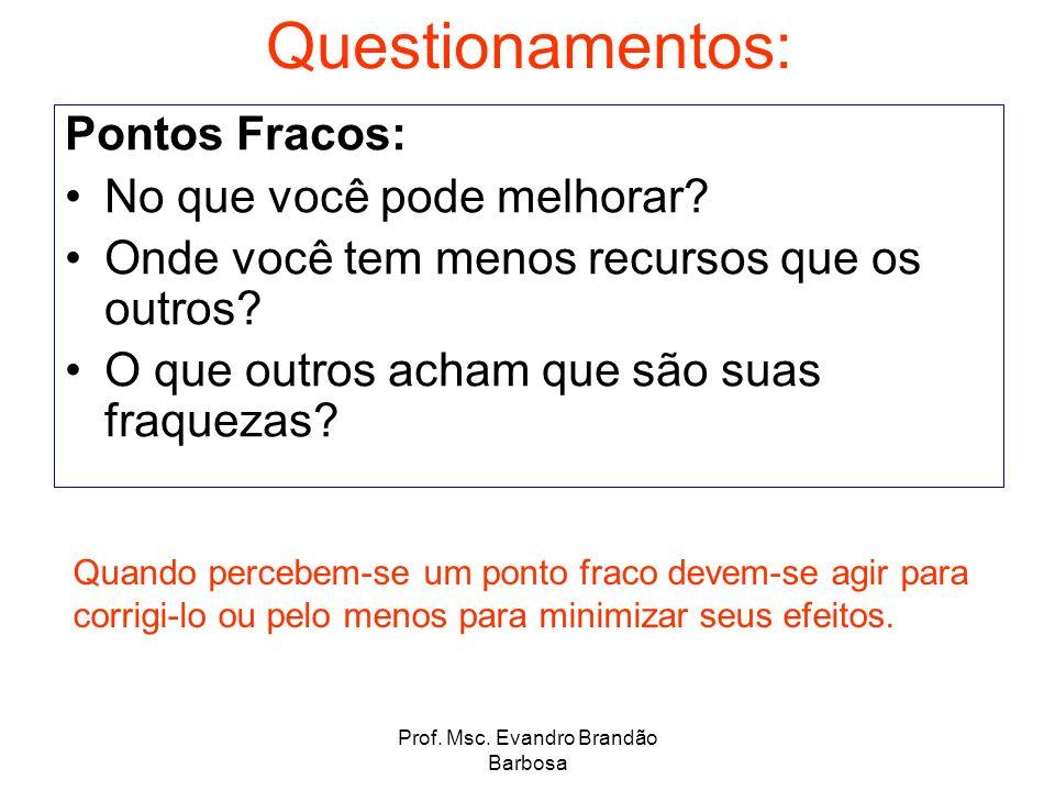 Prof. Msc. Evandro Brandão Barbosa Questionamentos: Pontos Fracos: No que você pode melhorar? Onde você tem menos recursos que os outros? O que outros