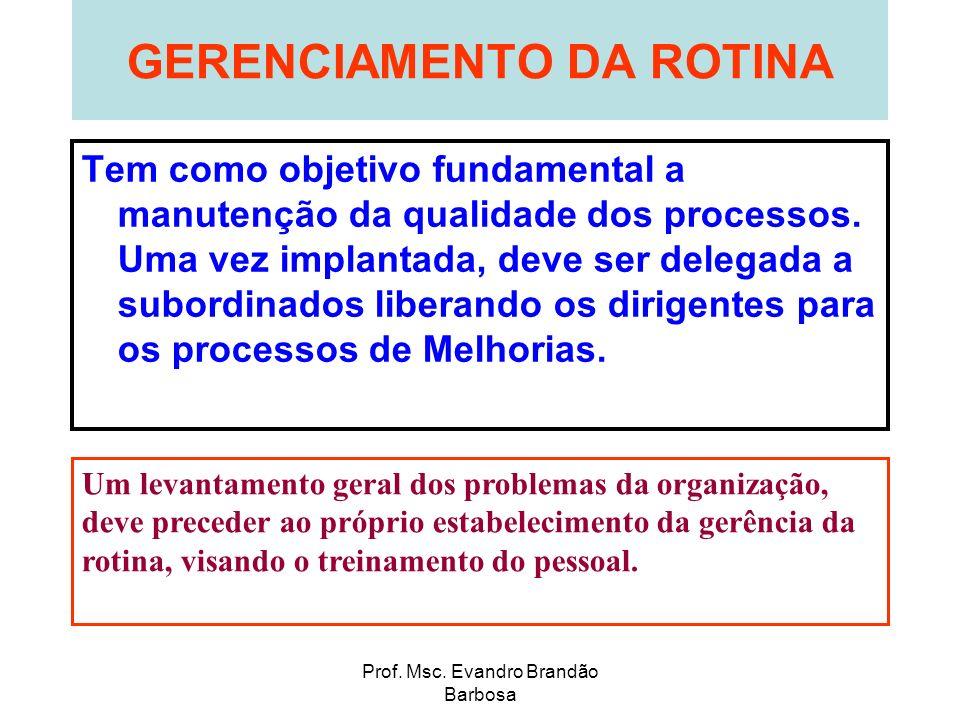Prof. Msc. Evandro Brandão Barbosa GERENCIAMENTO DA ROTINA Tem como objetivo fundamental a manutenção da qualidade dos processos. Uma vez implantada,