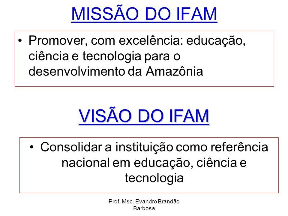 Prof. Msc. Evandro Brandão Barbosa MISSÃO DO IFAM Promover, com excelência: educação, ciência e tecnologia para o desenvolvimento da Amazônia Consolid
