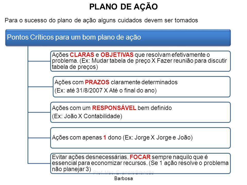 Prof. Msc. Evandro Brandão Barbosa PLANO DE AÇÃO Para o sucesso do plano de ação alguns cuidados devem ser tomados Pontos Críticos para um bom plano d
