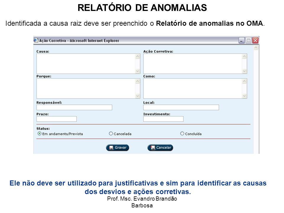Prof. Msc. Evandro Brandão Barbosa Identificada a causa raiz deve ser preenchido o Relatório de anomalias no OMA. RELATÓRIO DE ANOMALIAS Ele não deve