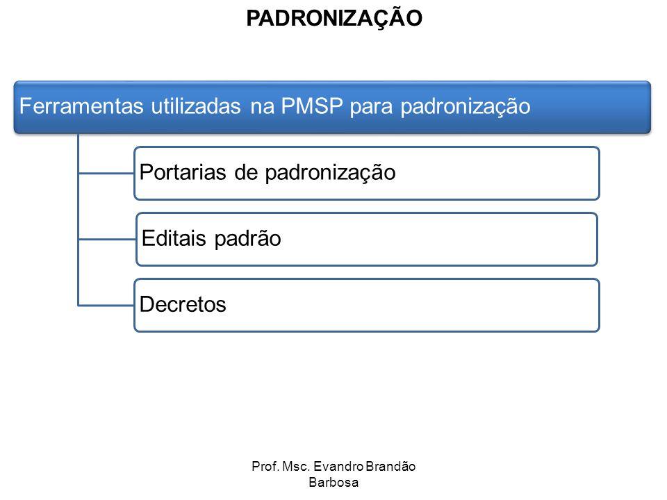 Prof. Msc. Evandro Brandão Barbosa PADRONIZAÇÃO Ferramentas utilizadas na PMSP para padronizaçãoPortarias de padronizaçãoEditais padrãoDecretos