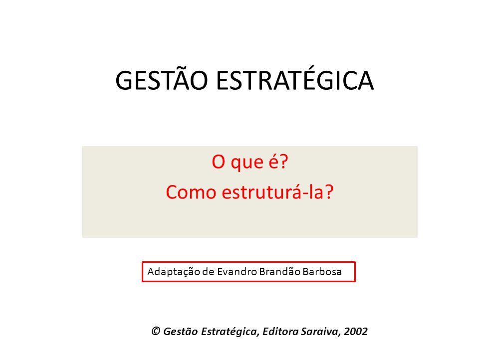 GESTÃO ESTRATÉGICA O que é? Como estruturá-la? © Gestão Estratégica, Editora Saraiva, 2002 Adaptação de Evandro Brandão Barbosa
