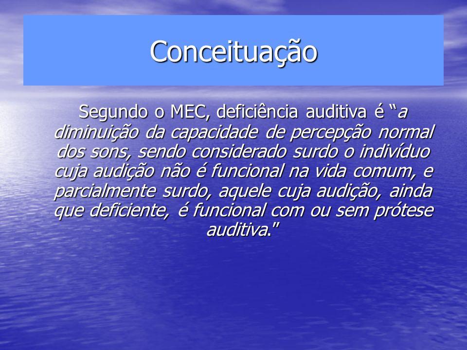 Conceituação Segundo o MEC, deficiência auditiva é a diminuição da capacidade de percepção normal dos sons, sendo considerado surdo o indivíduo cuja a