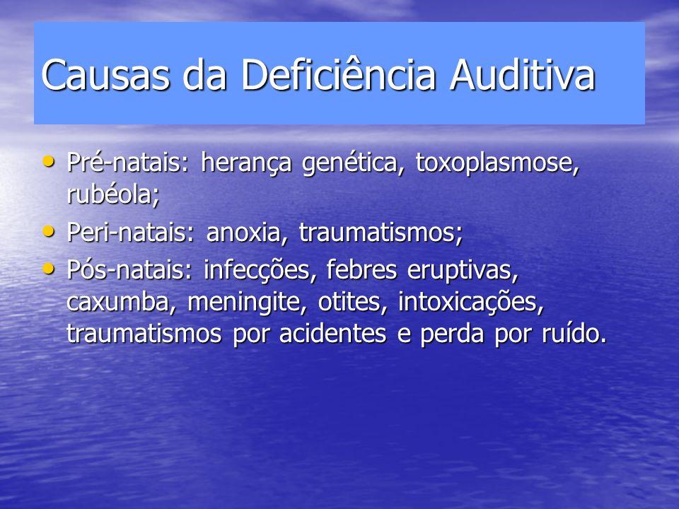 Causas da Deficiência Auditiva Pré-natais: herança genética, toxoplasmose, rubéola; Pré-natais: herança genética, toxoplasmose, rubéola; Peri-natais: anoxia, traumatismos; Peri-natais: anoxia, traumatismos; Pós-natais: infecções, febres eruptivas, caxumba, meningite, otites, intoxicações, traumatismos por acidentes e perda por ruído.