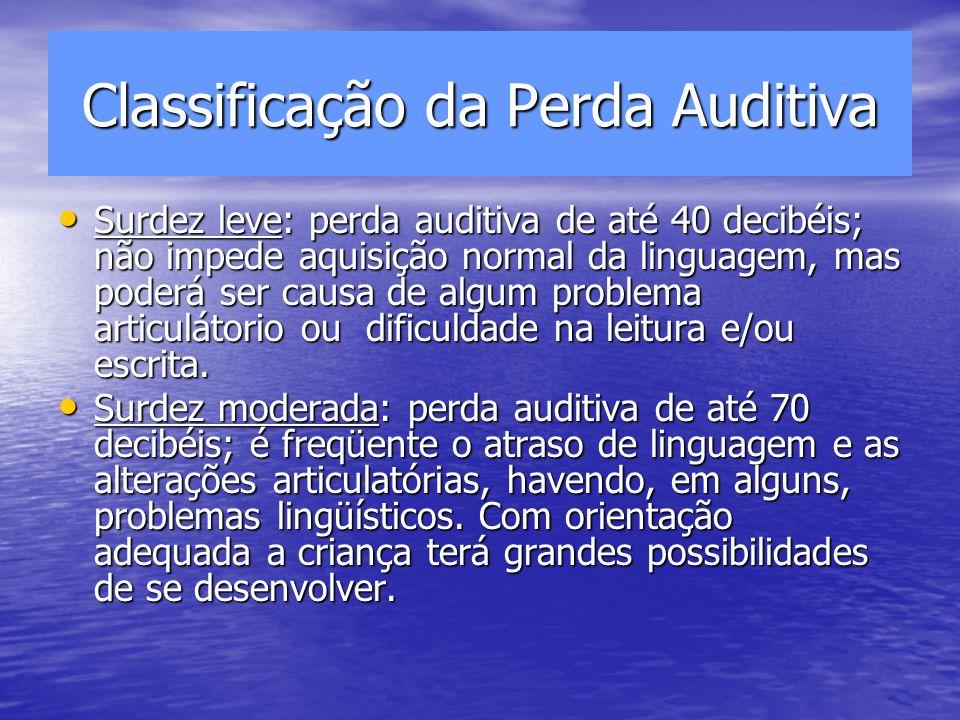 Classificação da Perda Auditiva Surdez leve: perda auditiva de até 40 decibéis; não impede aquisição normal da linguagem, mas poderá ser causa de algum problema articulátorio ou dificuldade na leitura e/ou escrita.