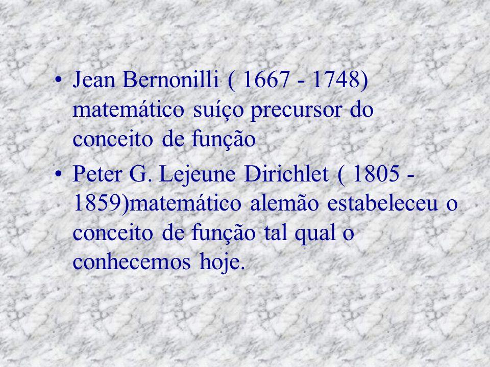 Jean Bernonilli ( 1667 - 1748) matemático suíço precursor do conceito de função Peter G.