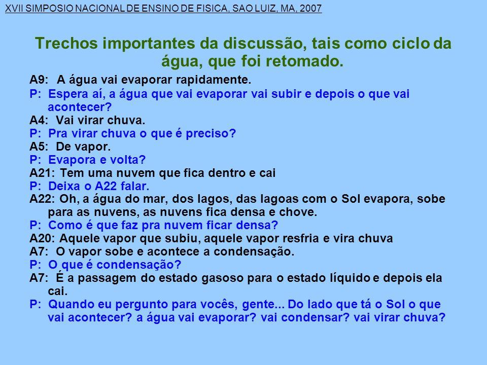 XVII SIMPOSIO NACIONAL DE ENSINO DE FISICA, SAO LUIZ, MA, 2007 Trechos importantes da discussão, tais como ciclo da água, que foi retomado.