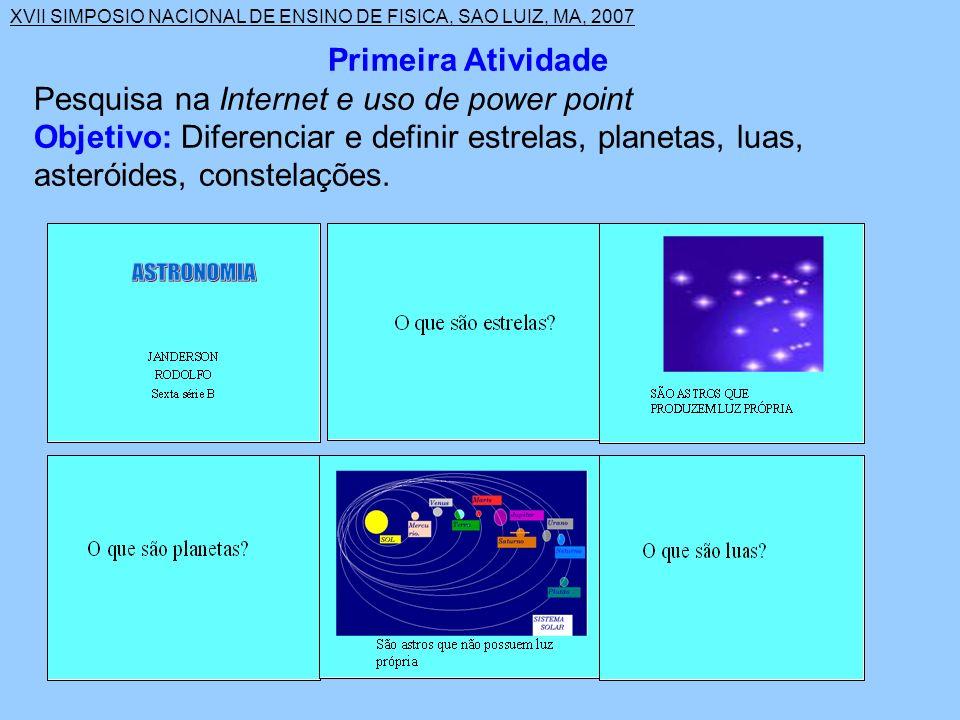 XVII SIMPOSIO NACIONAL DE ENSINO DE FISICA, SAO LUIZ, MA, 2007 Segunda Atividade Pesquisa na Internet de imagens e uso do power point.