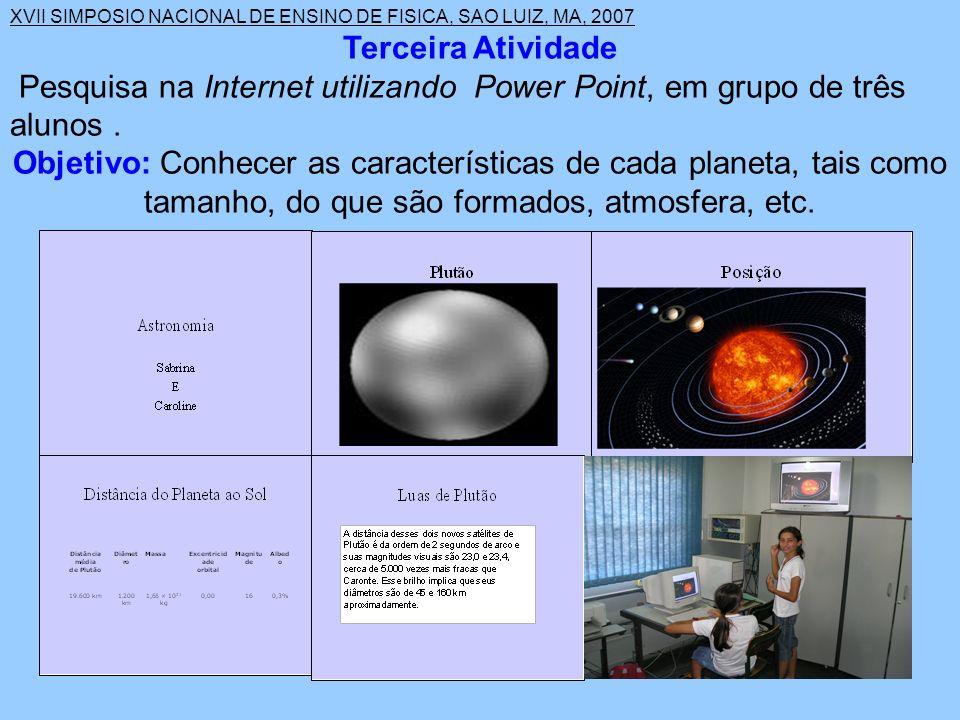 XVII SIMPOSIO NACIONAL DE ENSINO DE FISICA, SAO LUIZ, MA, 2007 Terceira Atividade Pesquisa na Internet utilizando Power Point, em grupo de três alunos.