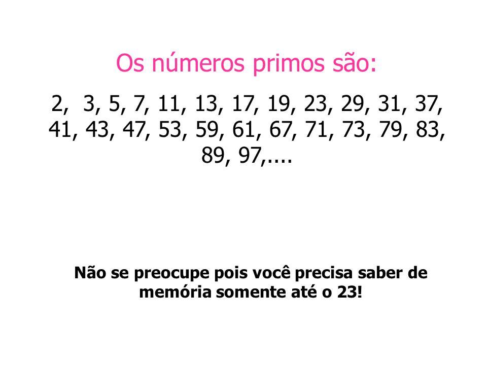 Os números primos são: 2, 3, 5, 7, 11, 13, 17, 19, 23, 29, 31, 37, 41, 43, 47, 53, 59, 61, 67, 71, 73, 79, 83, 89, 97,.... Não se preocupe pois você p