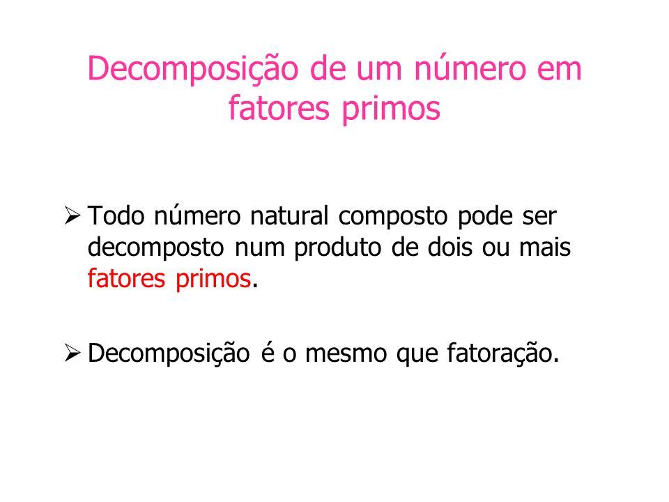 Decomposição de um número em fatores primos Todo número natural composto pode ser decomposto num produto de dois ou mais fatores primos. Decomposição