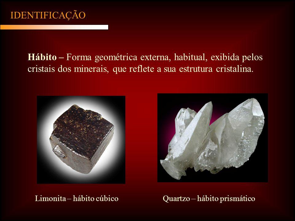 IDENTIFICAÇÃO Hábito – Forma geométrica externa, habitual, exibida pelos cristais dos minerais, que reflete a sua estrutura cristalina. Limonita – háb
