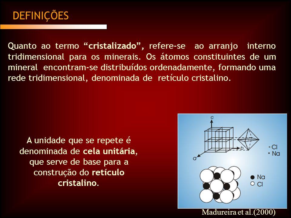 DEFINIÇÕES Quanto ao termo cristalizado, refere-se ao arranjo interno tridimensional para os minerais.