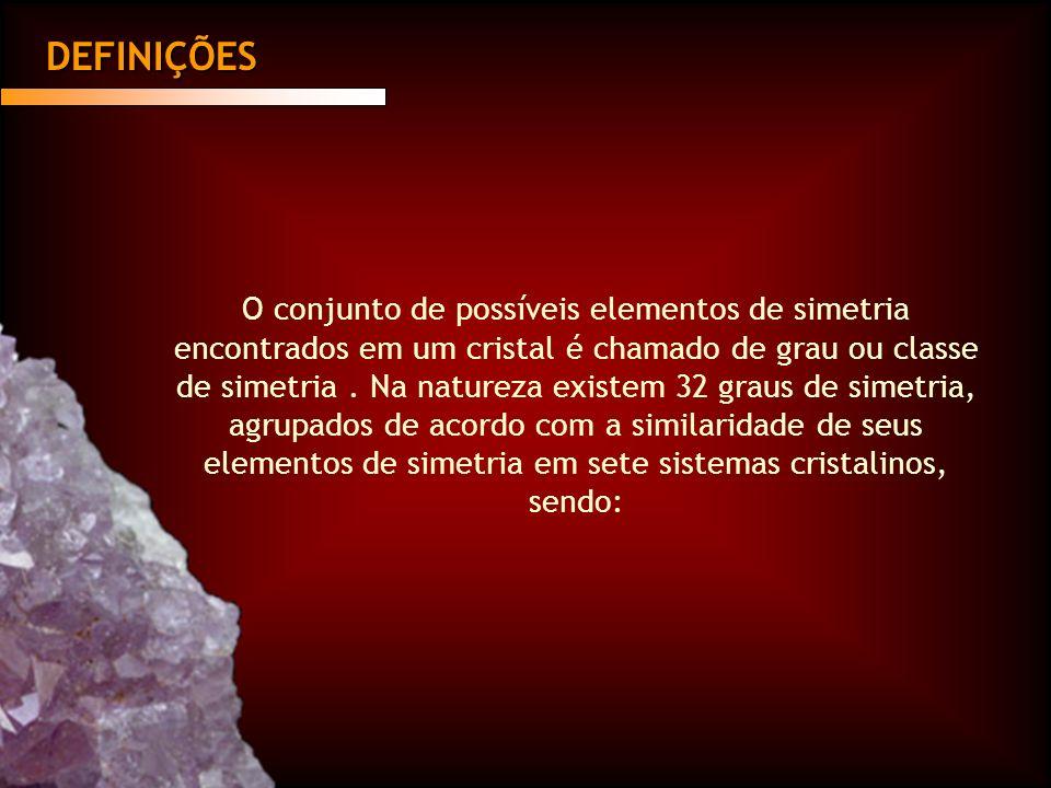 DEFINIÇÕES O conjunto de possíveis elementos de simetria encontrados em um cristal é chamado de grau ou classe de simetria. Na natureza existem 32 gra