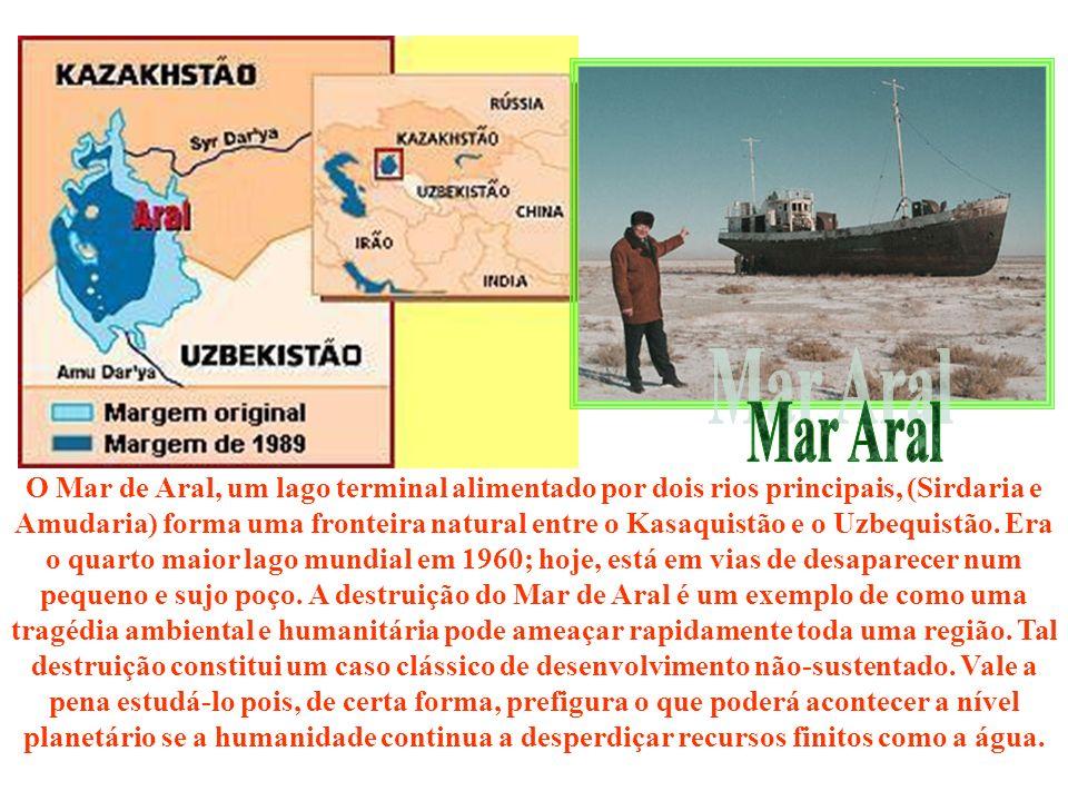 O Mar de Aral, um lago terminal alimentado por dois rios principais, (Sirdaria e Amudaria) forma uma fronteira natural entre o Kasaquistão e o Uzbequi
