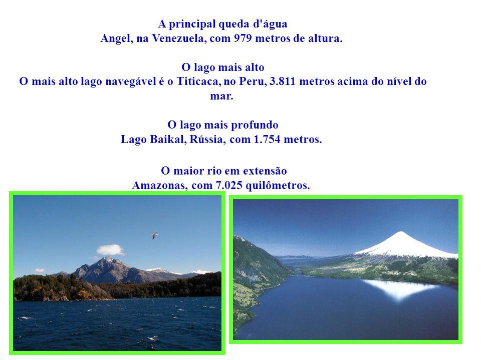 A principal queda d'água Angel, na Venezuela, com 979 metros de altura. O lago mais alto O mais alto lago navegável é o Titicaca, no Peru, 3.811 metro