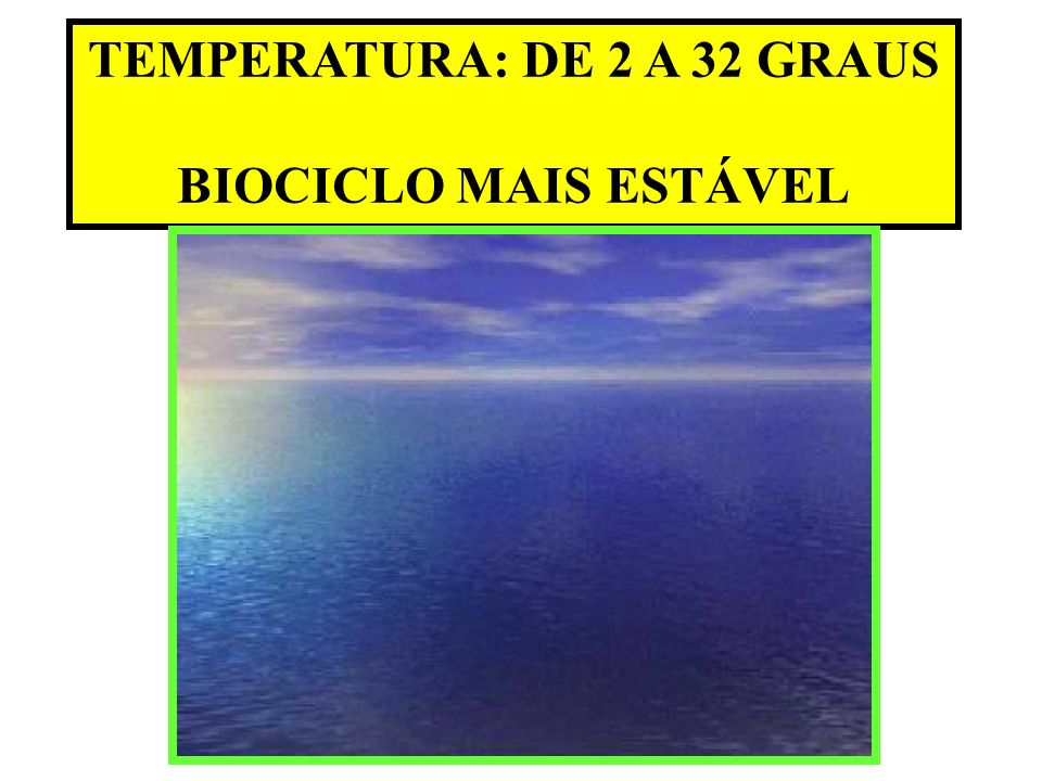 TEMPERATURA: DE 2 A 32 GRAUS BIOCICLO MAIS ESTÁVEL