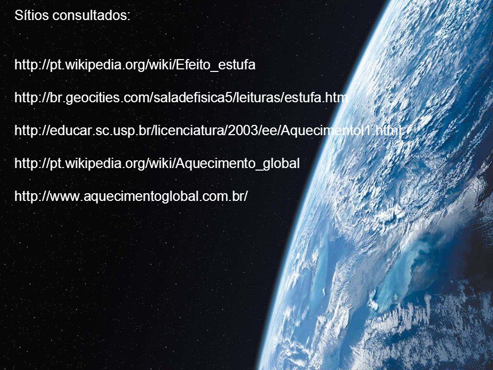 Sítios consultados: http://pt.wikipedia.org/wiki/Efeito_estufa http://br.geocities.com/saladefisica5/leituras/estufa.htm http://educar.sc.usp.br/licen