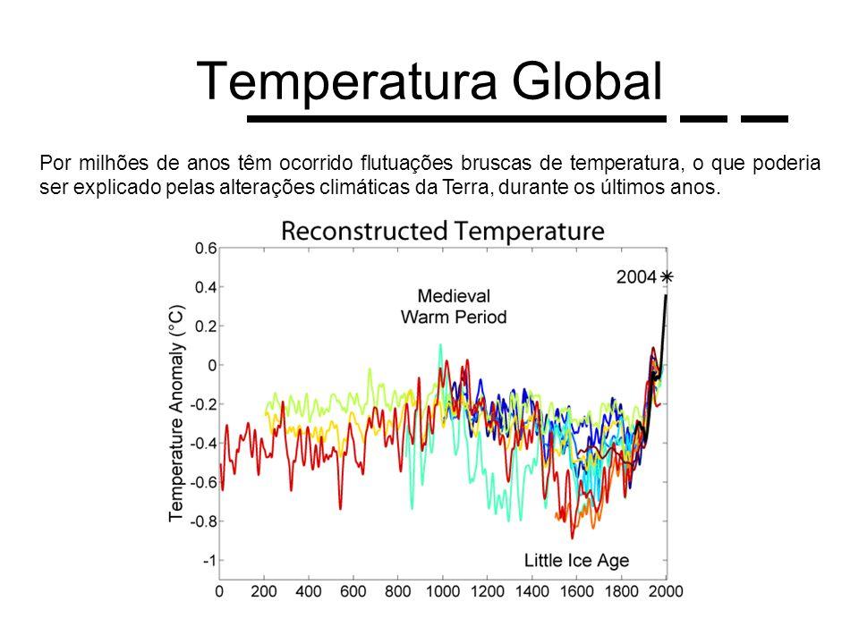Temperatura Global Por milhões de anos têm ocorrido flutuações bruscas de temperatura, o que poderia ser explicado pelas alterações climáticas da Terr