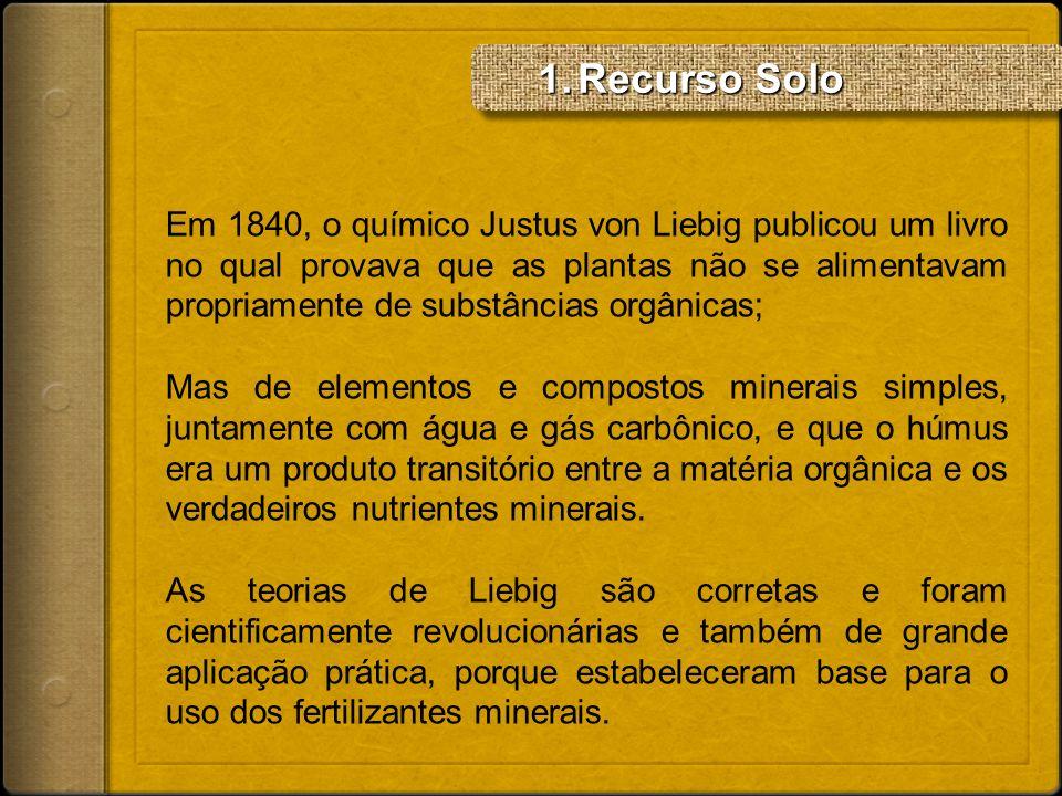 Em 1840, o químico Justus von Liebig publicou um livro no qual provava que as plantas não se alimentavam propriamente de substâncias orgânicas; Mas de