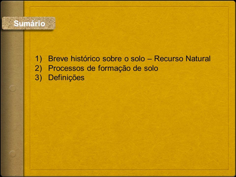 1)Breve histórico sobre o solo – Recurso Natural 2)Processos de formação de solo 3)Definições Sumário Sumário