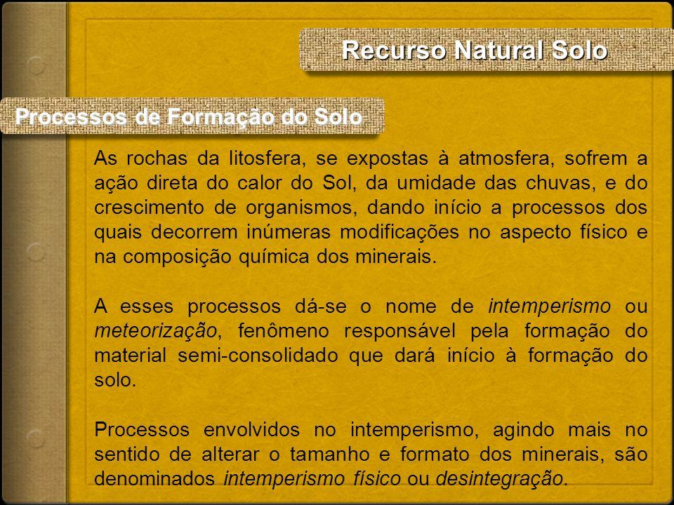 Processos de Formação do Solo Processos de Formação do Solo As rochas da litosfera, se expostas à atmosfera, sofrem a ação direta do calor do Sol, da
