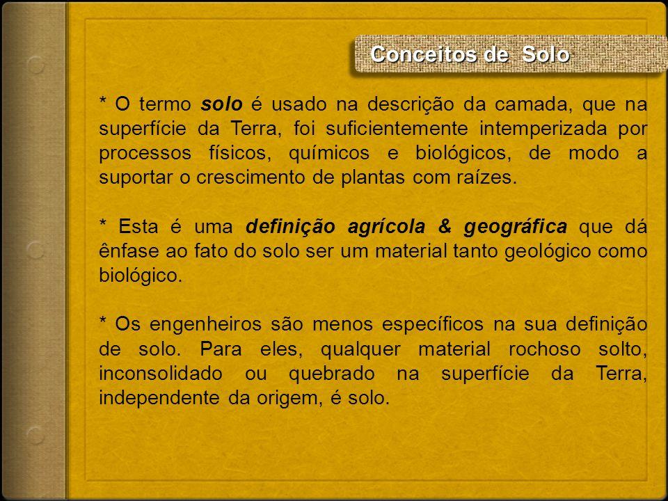 Conceitos de Solo Conceitos de Solo * O termo solo é usado na descrição da camada, que na superfície da Terra, foi suficientemente intemperizada por p