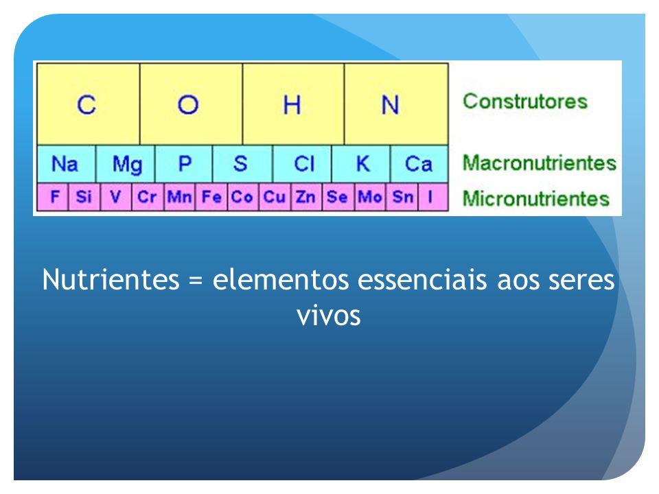 Nutrientes = elementos essenciais aos seres vivos