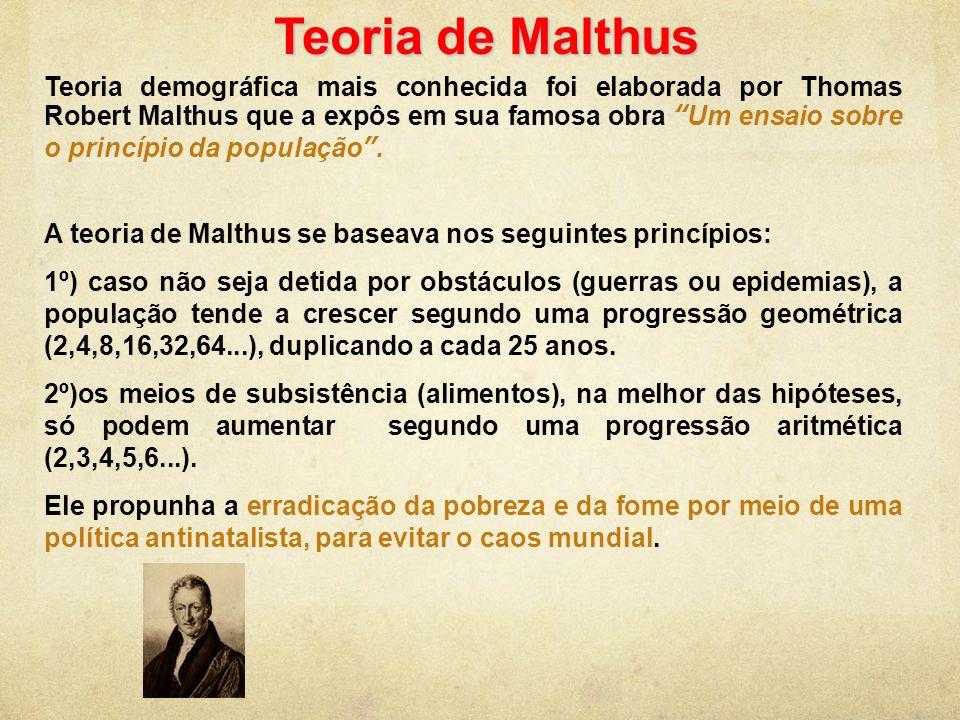 Teoria de Malthus Teoria demográfica mais conhecida foi elaborada por Thomas Robert Malthus que a expôs em sua famosa obra Um ensaio sobre o princípio