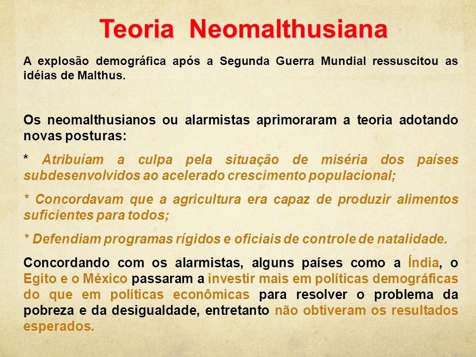 Teoria Neomalthusiana A explosão demográfica após a Segunda Guerra Mundial ressuscitou as idéias de Malthus. Os neomalthusianos ou alarmistas aprimora
