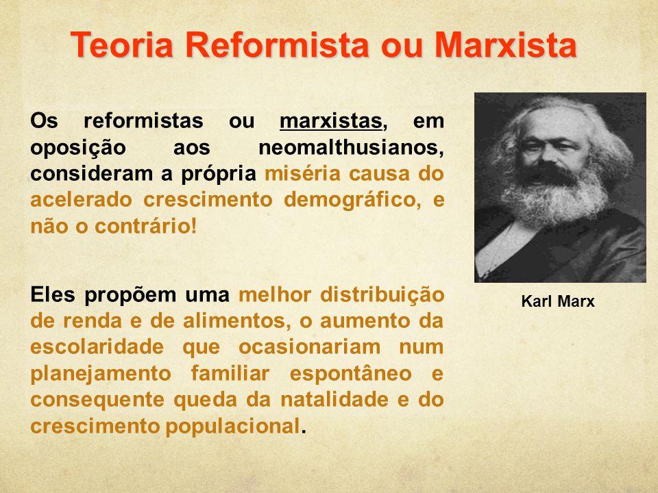 Teoria Reformista ou Marxista Os reformistas ou marxistas, em oposição aos neomalthusianos, consideram a própria miséria causa do acelerado cresciment