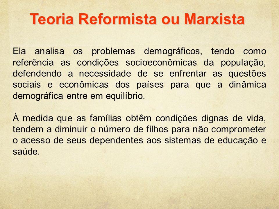 Teoria Reformista ou Marxista Ela analisa os problemas demográficos, tendo como referência as condições socioeconômicas da população, defendendo a nec