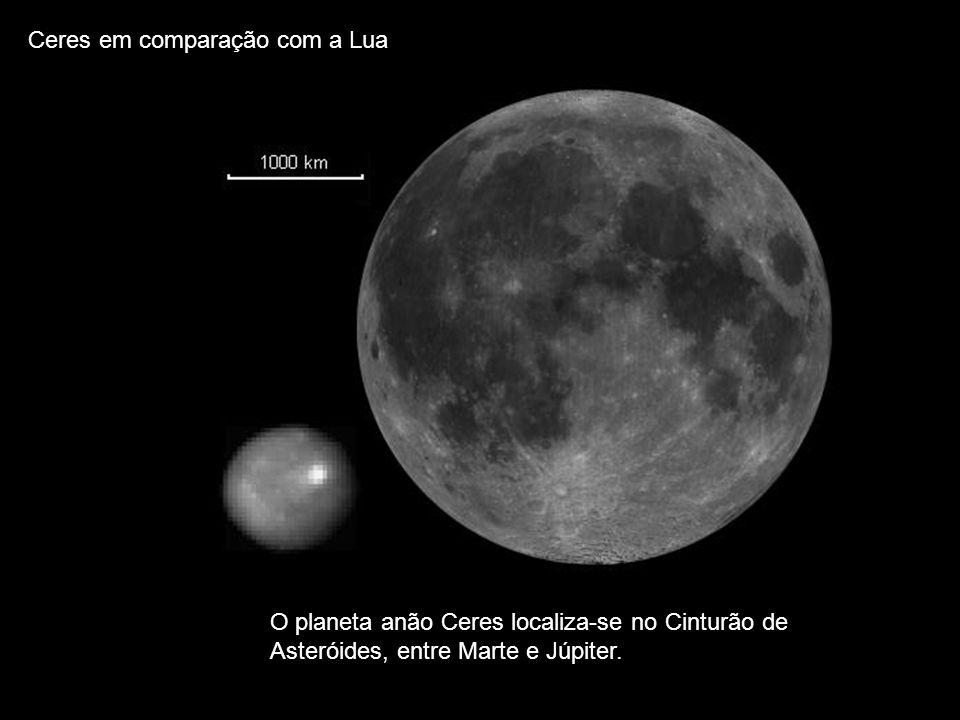 Ceres em comparação com a Lua O planeta anão Ceres localiza-se no Cinturão de Asteróides, entre Marte e Júpiter.