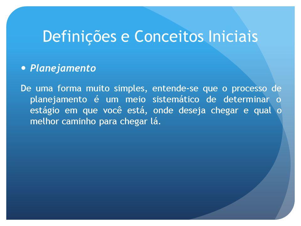 Definições e Conceitos Iniciais Planejamento De uma forma muito simples, entende-se que o processo de planejamento é um meio sistemático de determinar