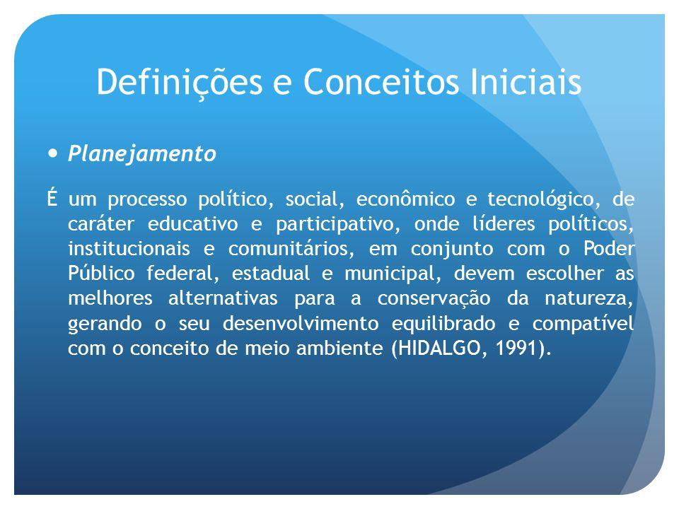 Definições e Conceitos Iniciais Planejamento É um processo político, social, econômico e tecnológico, de caráter educativo e participativo, onde líder