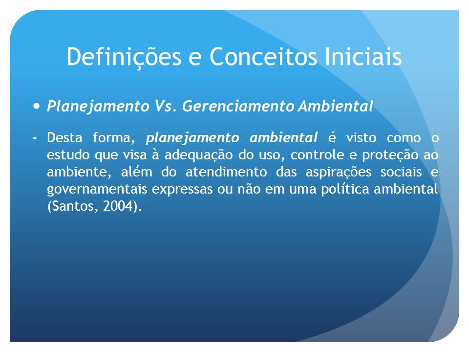 Definições e Conceitos Iniciais Planejamento Vs. Gerenciamento Ambiental -Desta forma, planejamento ambiental é visto como o estudo que visa à adequaç