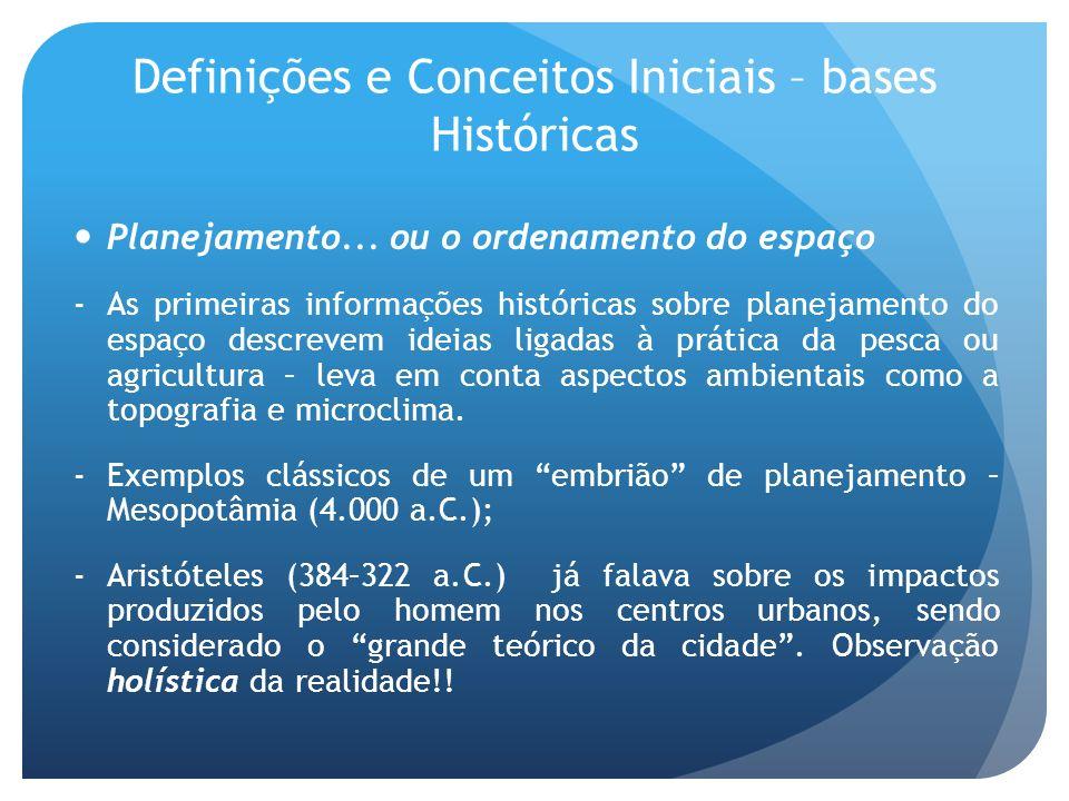 Definições e Conceitos Iniciais – bases Históricas Planejamento... ou o ordenamento do espaço -As primeiras informações históricas sobre planejamento