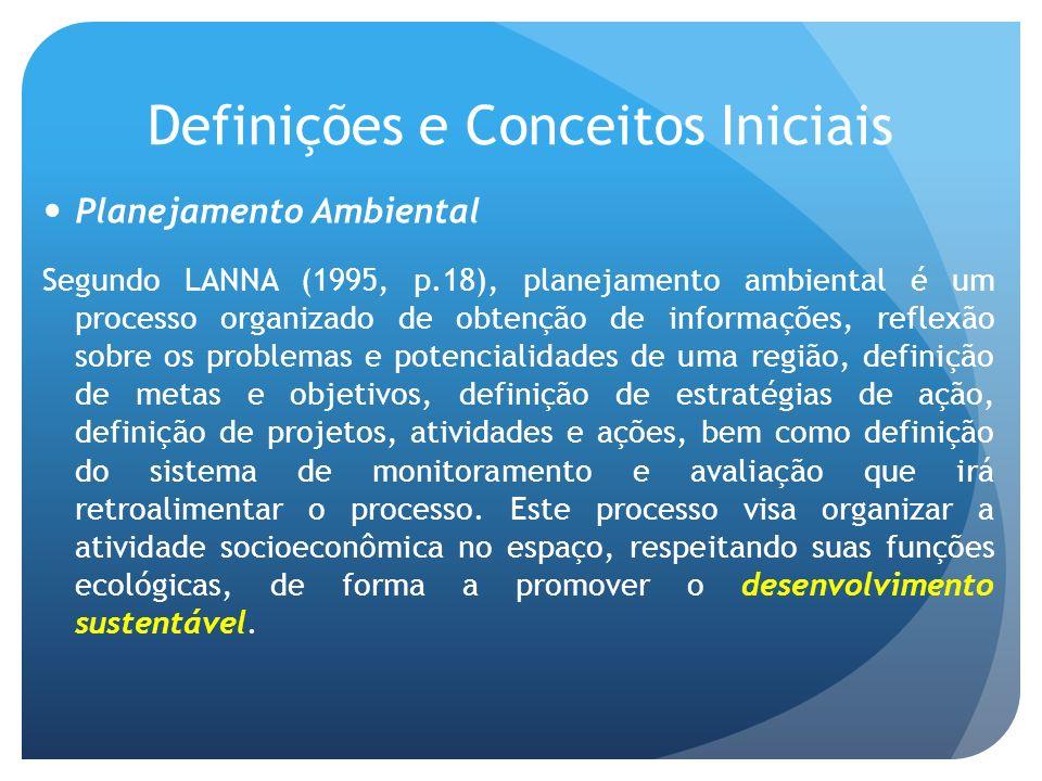 Definições e Conceitos Iniciais Planejamento Ambiental Segundo LANNA (1995, p.18), planejamento ambiental é um processo organizado de obtenção de informações, reflexão sobre os problemas e potencialidades de uma região, definição de metas e objetivos, definição de estratégias de ação, definição de projetos, atividades e ações, bem como definição do sistema de monitoramento e avaliação que irá retroalimentar o processo.