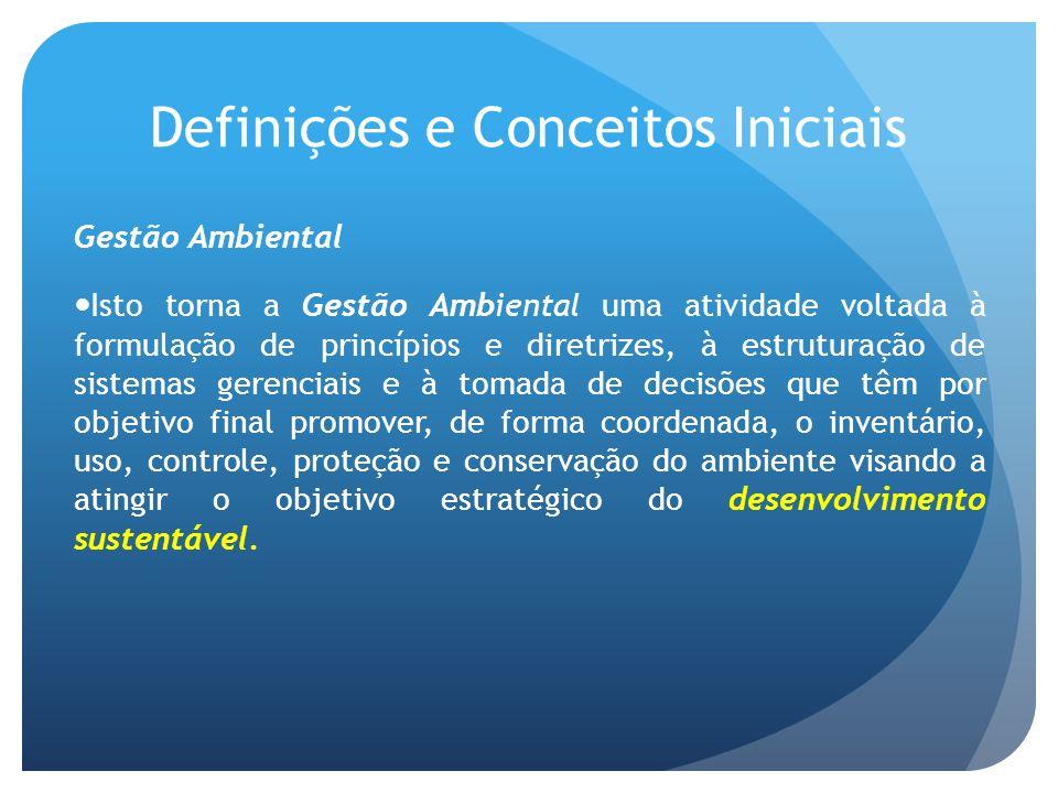 Definições e Conceitos Iniciais Gestão Ambiental Isto torna a Gestão Ambiental uma atividade voltada à formulação de princípios e diretrizes, à estrut
