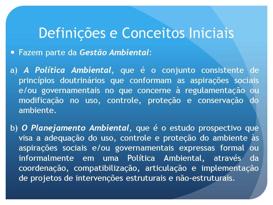 Definições e Conceitos Iniciais Fazem parte da Gestão Ambiental: a) A Política Ambiental, que é o conjunto consistente de princípios doutrinários que